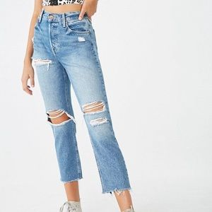 Forever 21 Ripped Blue Mom Jeans